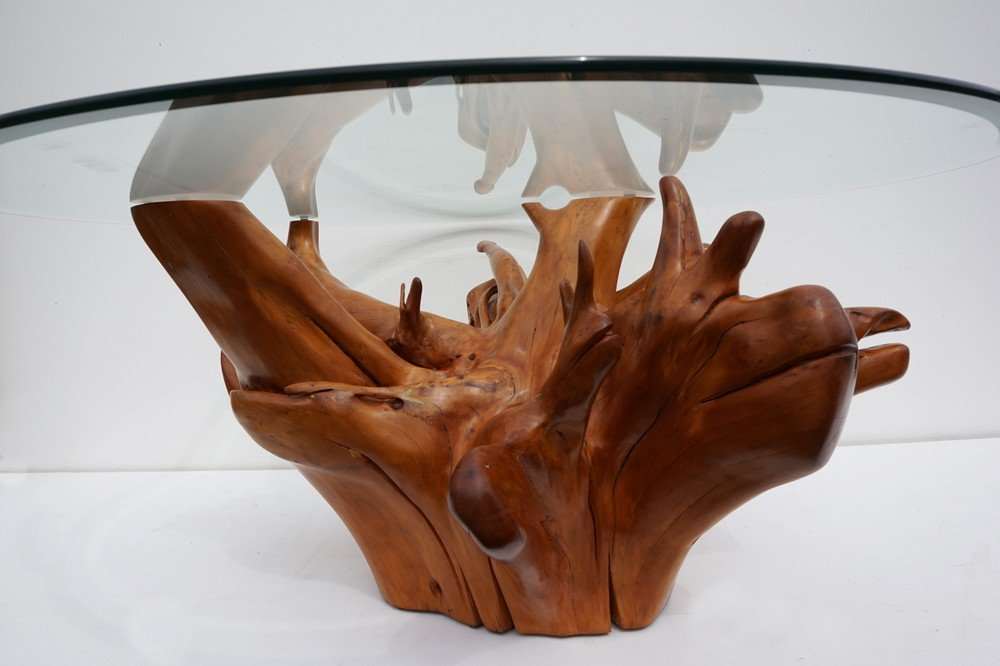 Mid-Century Teak Tree Root Coffee Table with Beveled Glass ...