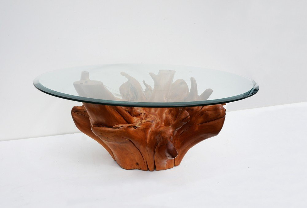 Mid-Century Teak Tree Root Coffee Table with Beveled Glass Top
