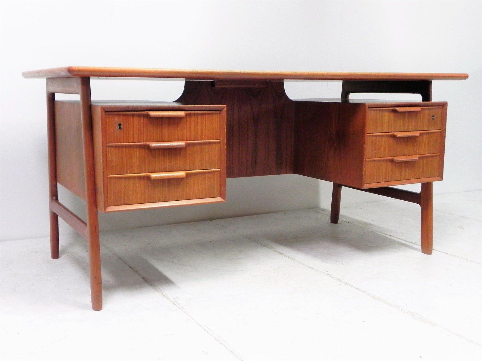 vintage modell 75 teak schreibtisch von omann jun bei. Black Bedroom Furniture Sets. Home Design Ideas