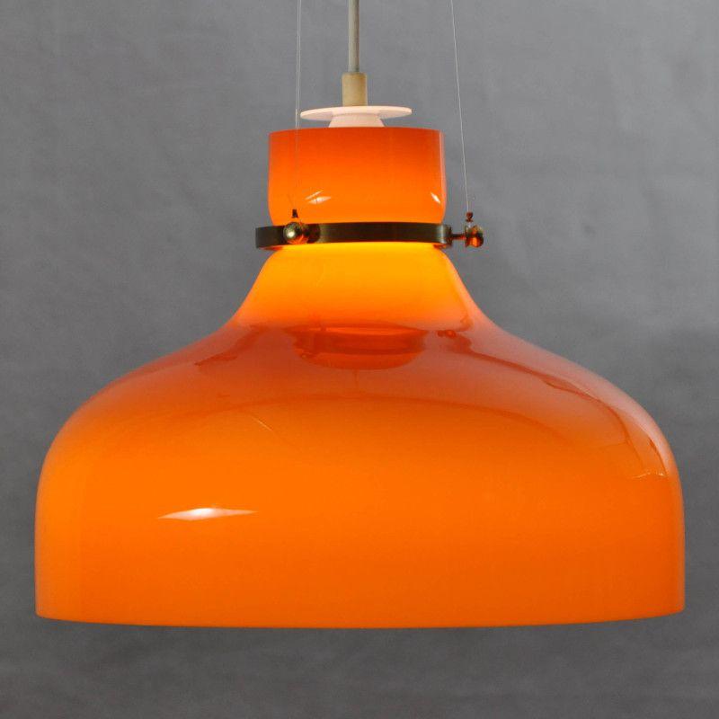 lampe suspension vintage en verre orange danemark en vente sur pamono. Black Bedroom Furniture Sets. Home Design Ideas