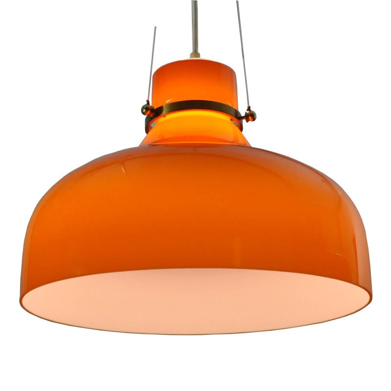 Lampe suspension vintage en verre orange danemark en vente sur pamono - Lampe suspension vintage ...