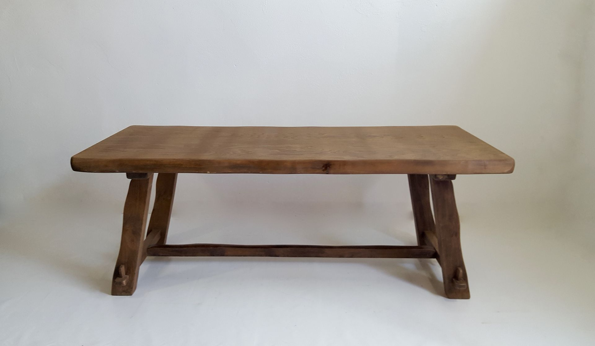 Model t dining table in elm wood by olavi hanninen for for New model wooden dining table