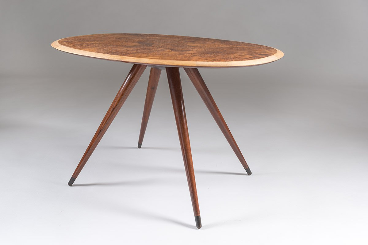 Mid Century Swedish Coffee Table With Elm Root Inlay 1950s For Sale At Pamono
