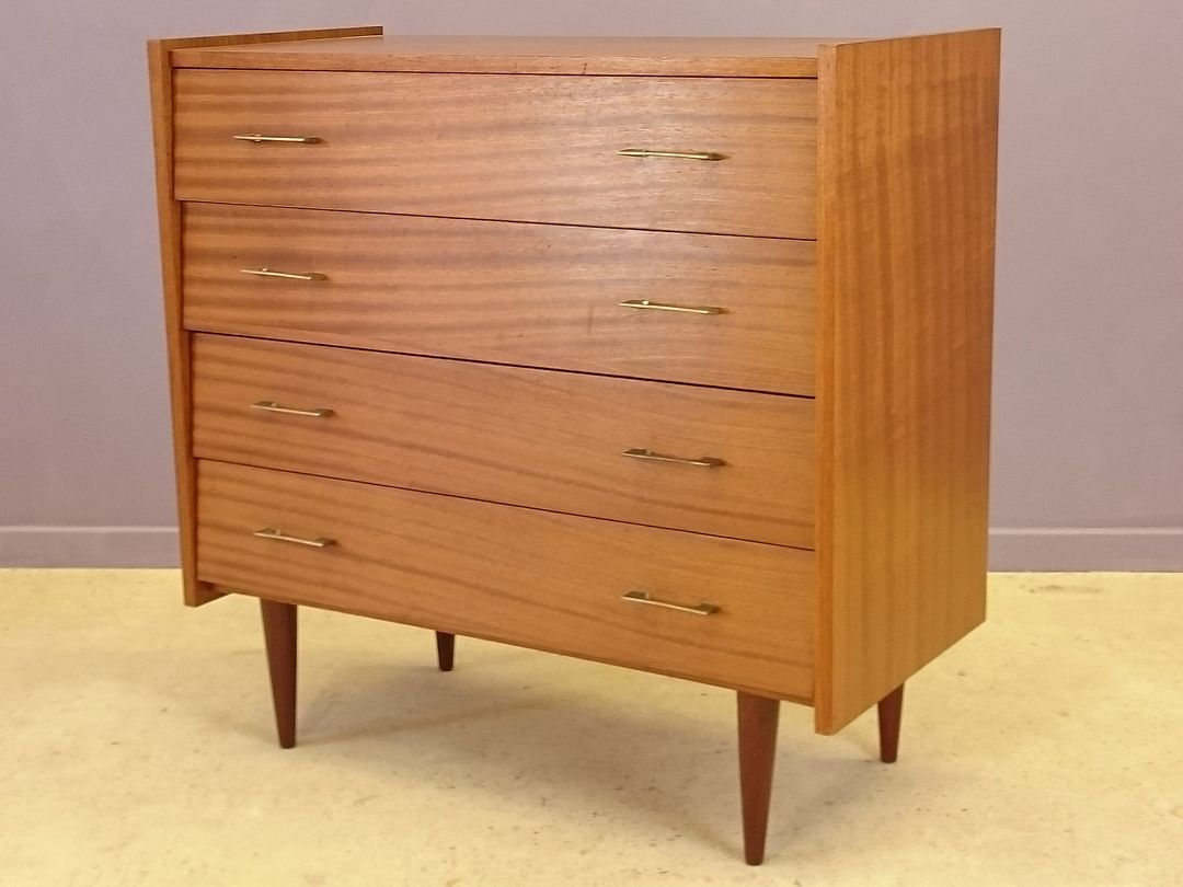 commode en bois avec quatre tiroirs 1960s en vente sur pamono. Black Bedroom Furniture Sets. Home Design Ideas