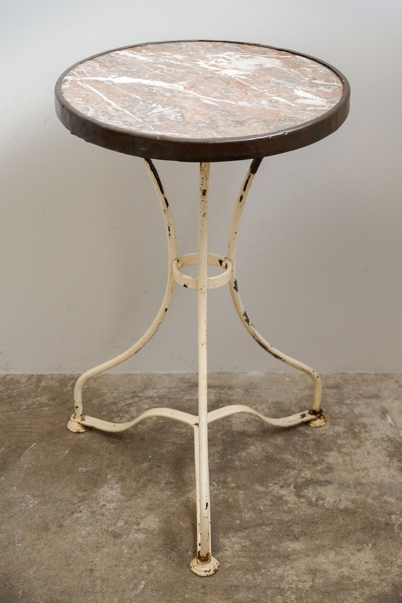 Marvelous Antique Bistro Table With Marble Top, 1890s