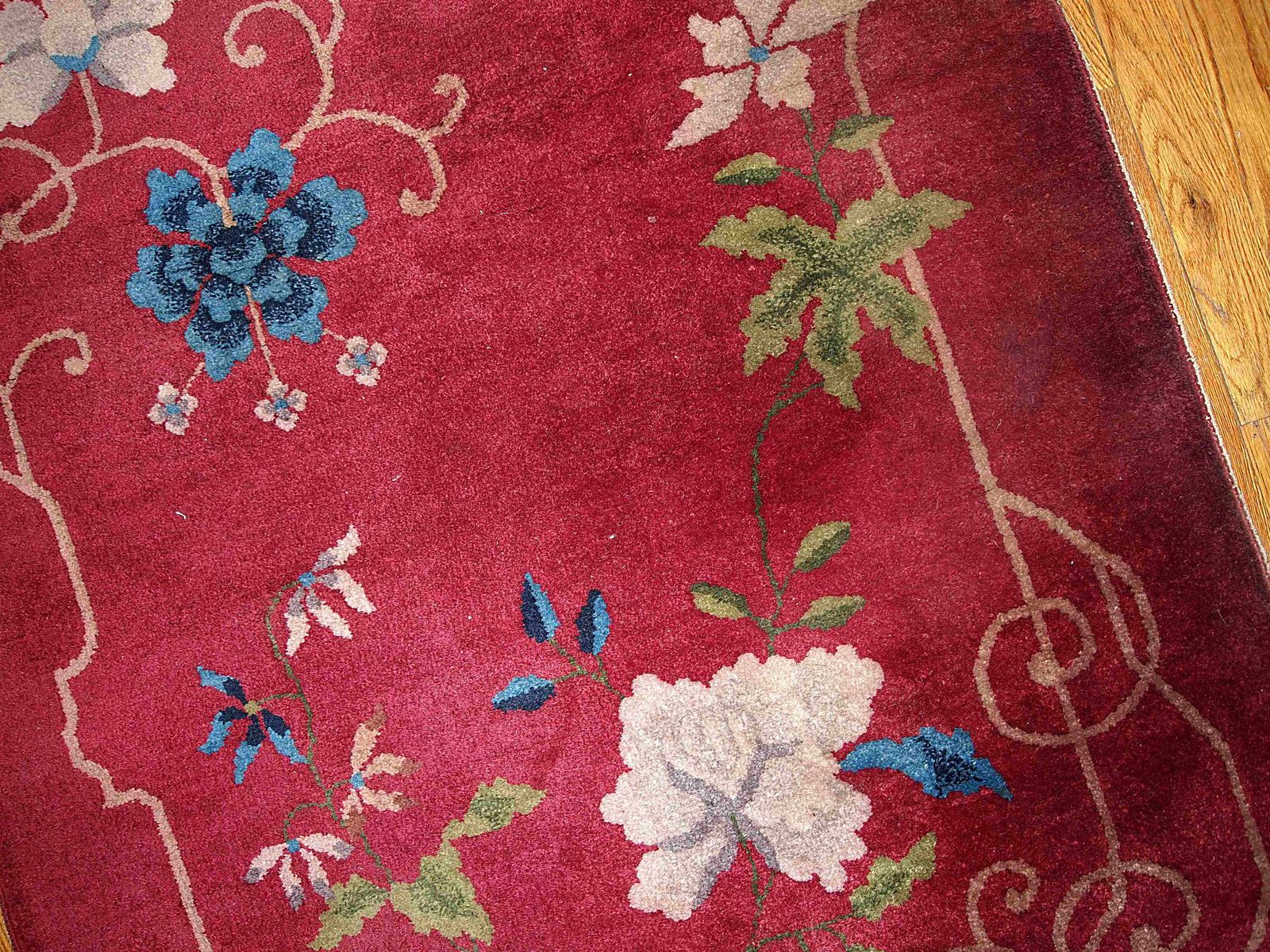 handgekn pfter roter chinesischer art deco teppich 1920er. Black Bedroom Furniture Sets. Home Design Ideas