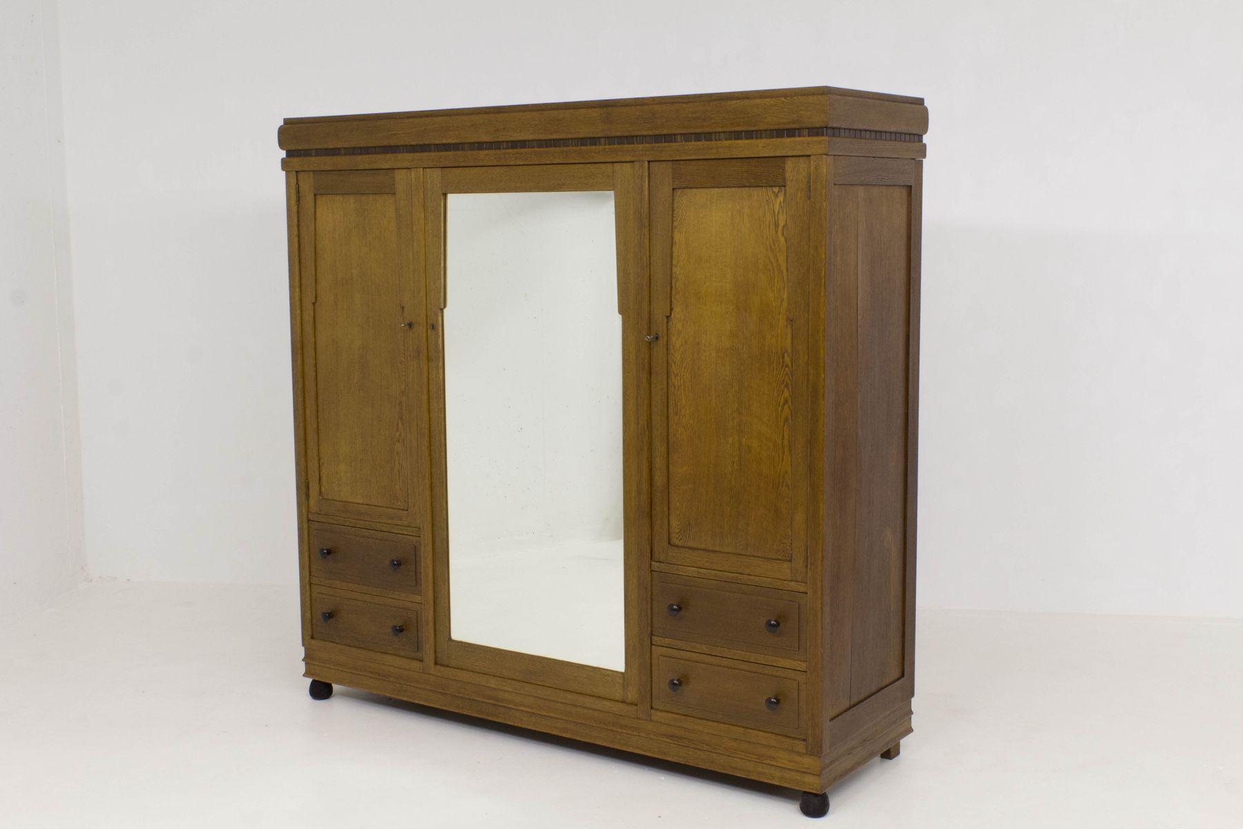 art deco amsterdam school wardrobe 1920s for sale at pamono. Black Bedroom Furniture Sets. Home Design Ideas