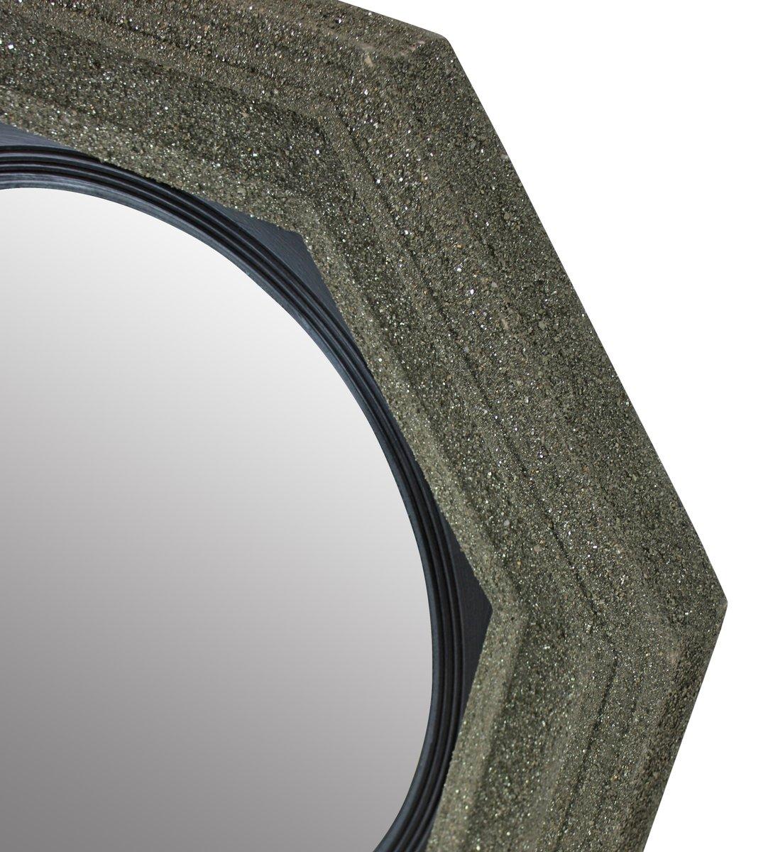 Grand miroir convex mid century avec cadre en min raux for Grand miroir solde