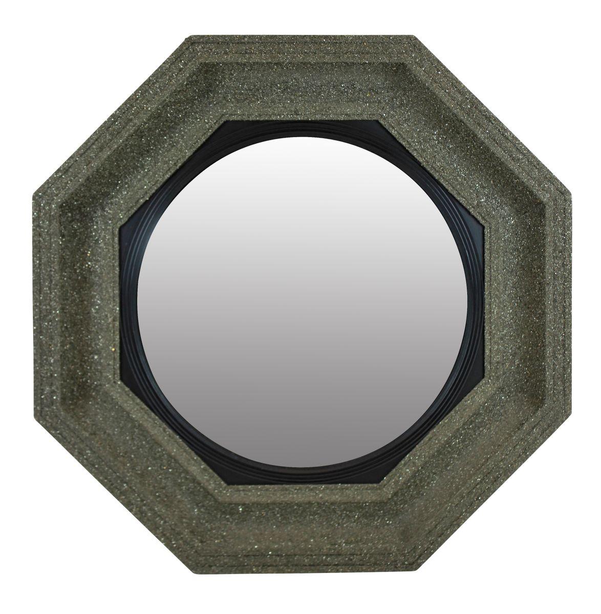 Grand miroir convex mid century avec cadre en min raux for Grand miroir en solde