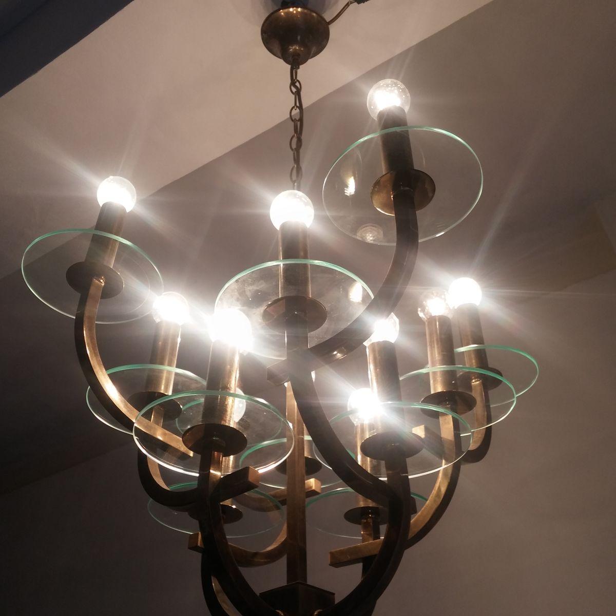 Mid century kronleuchter mit zw lf lampen bei pamono kaufen for Lampen niederlande