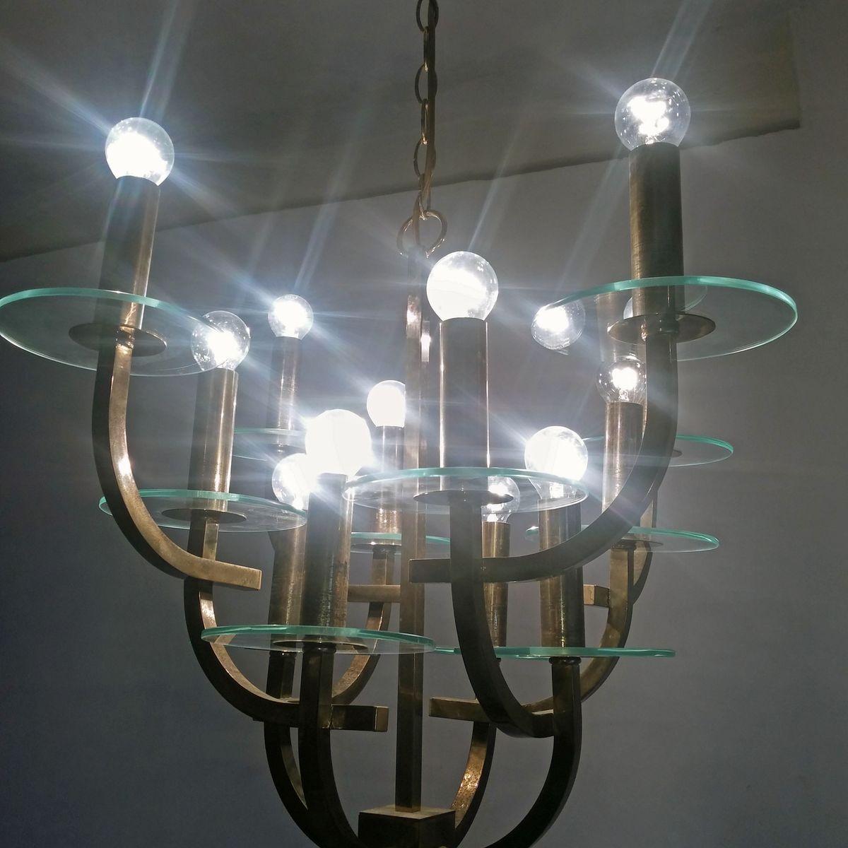 mid century kronleuchter mit zw lf lampen bei pamono kaufen. Black Bedroom Furniture Sets. Home Design Ideas