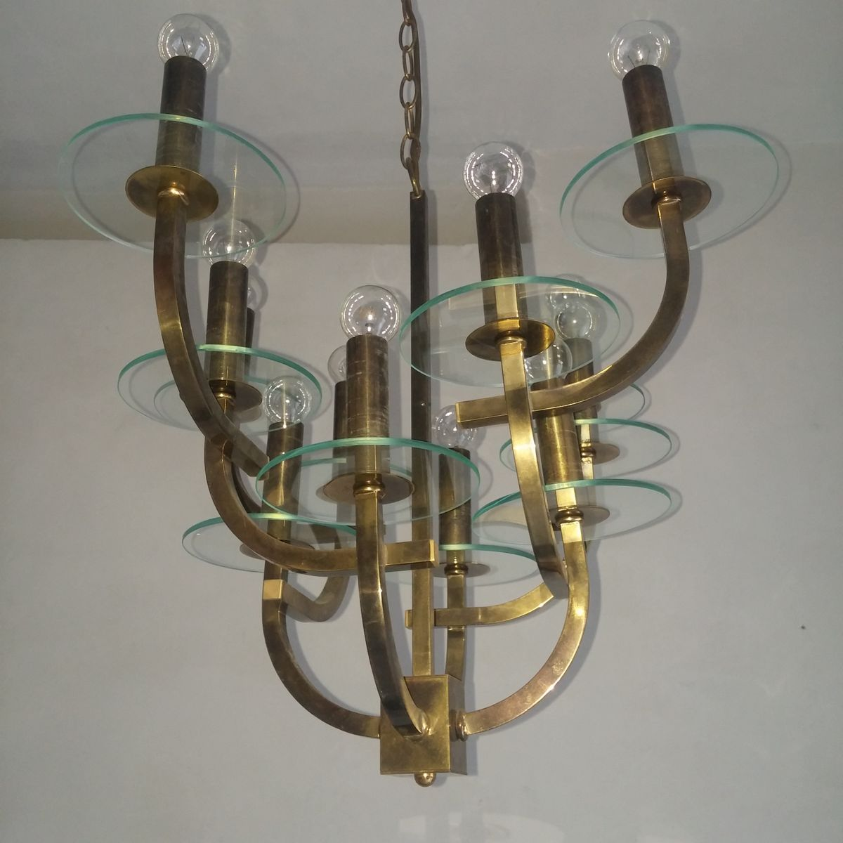 chandelier mid century 12 lampes en vente sur pamono. Black Bedroom Furniture Sets. Home Design Ideas
