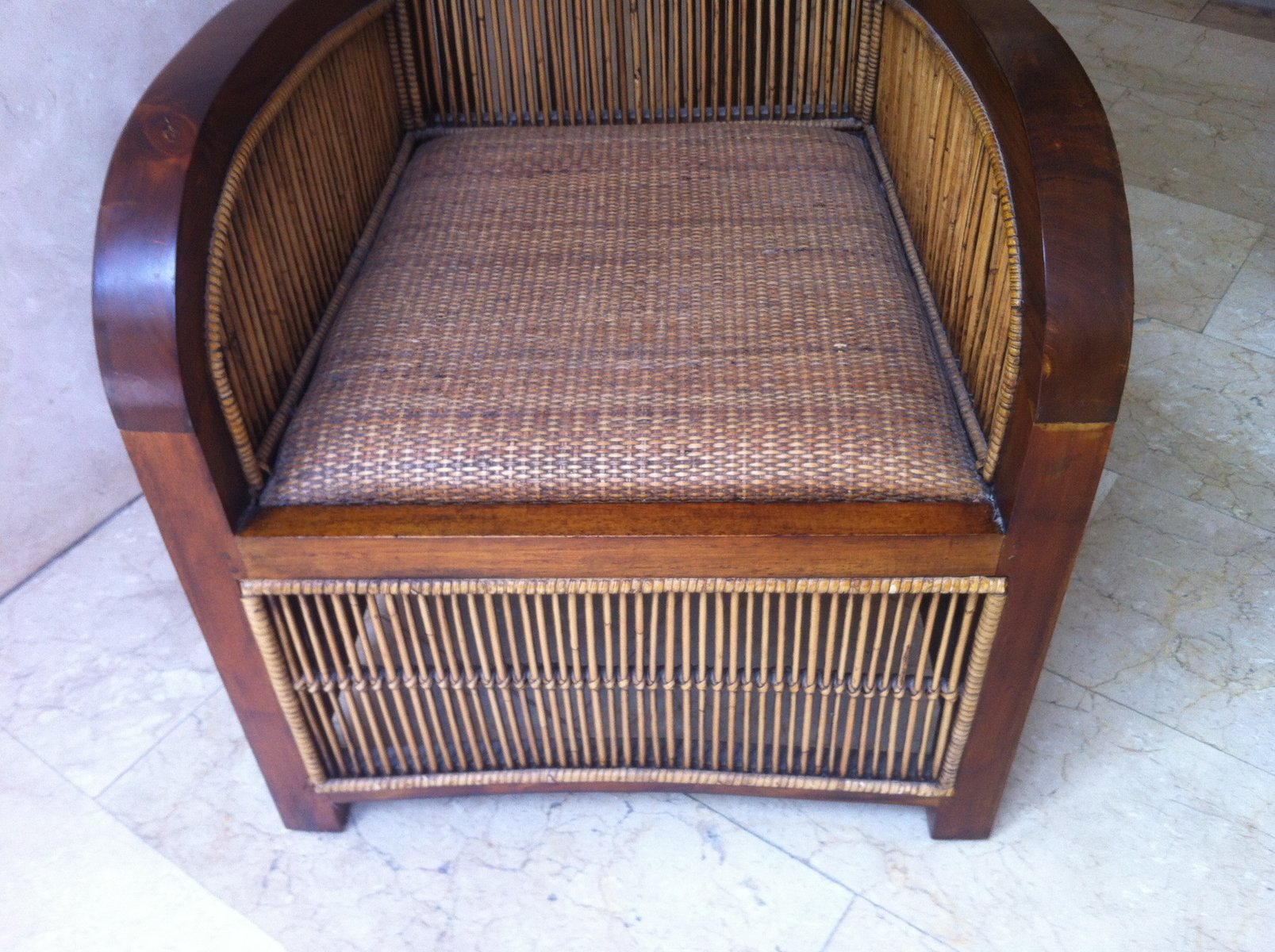 Spanish Art Deco Wood & Bamboo Club Chair 1960s for sale at Pamono