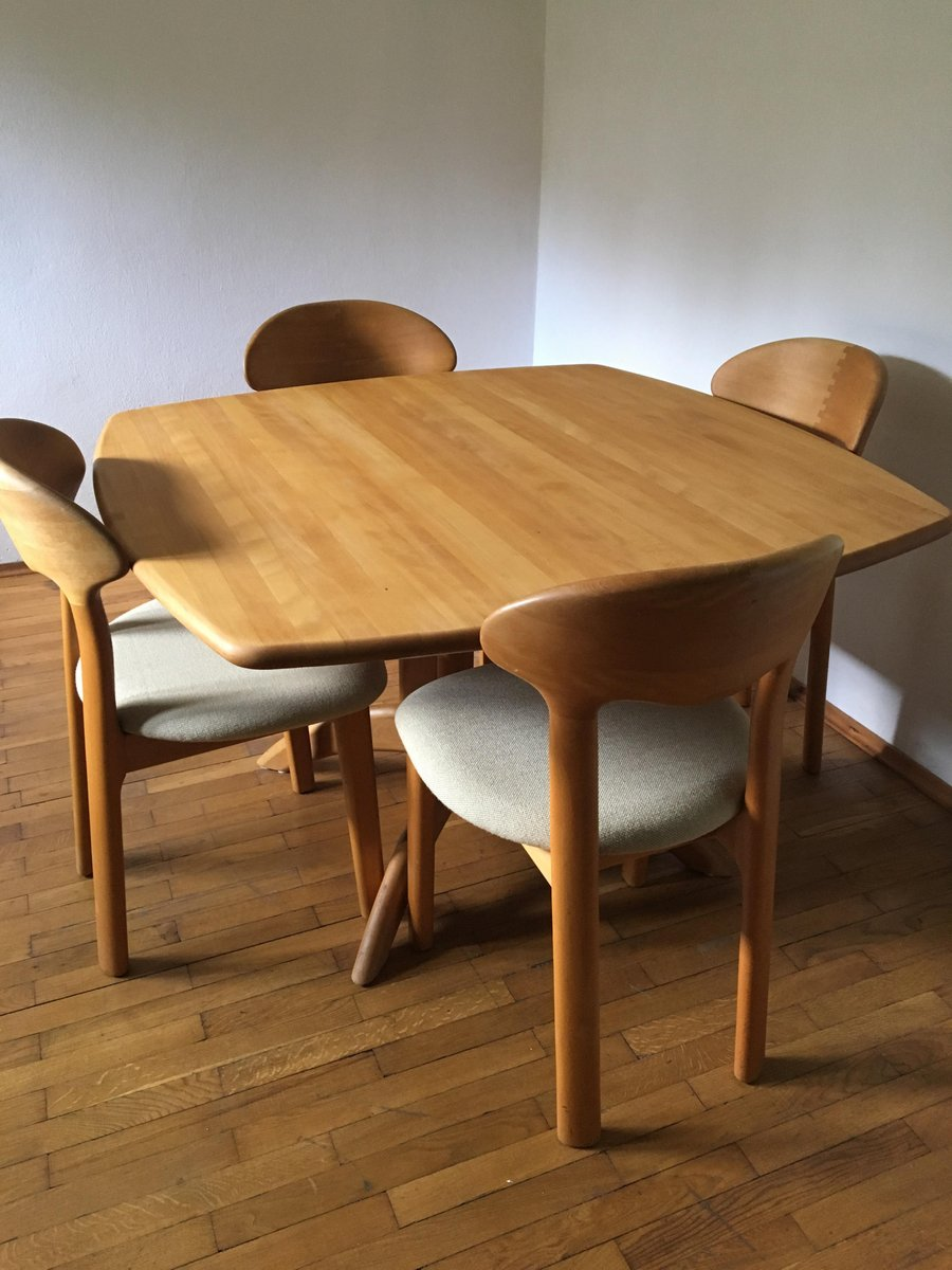 Mid Century Dining Table Four Chairs from Juul Kristensen for