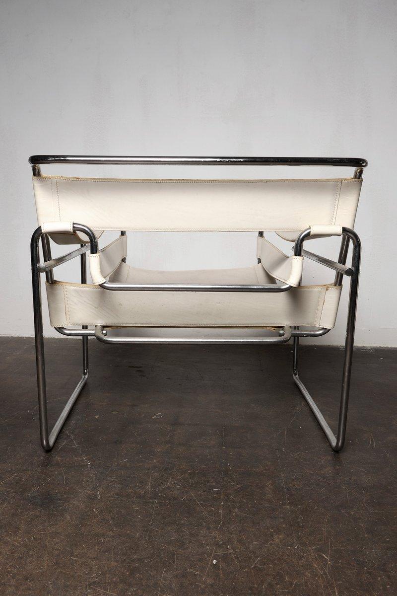 Chaise Vintage Blanche Wassily par Marcel Breuer en vente sur Pamono