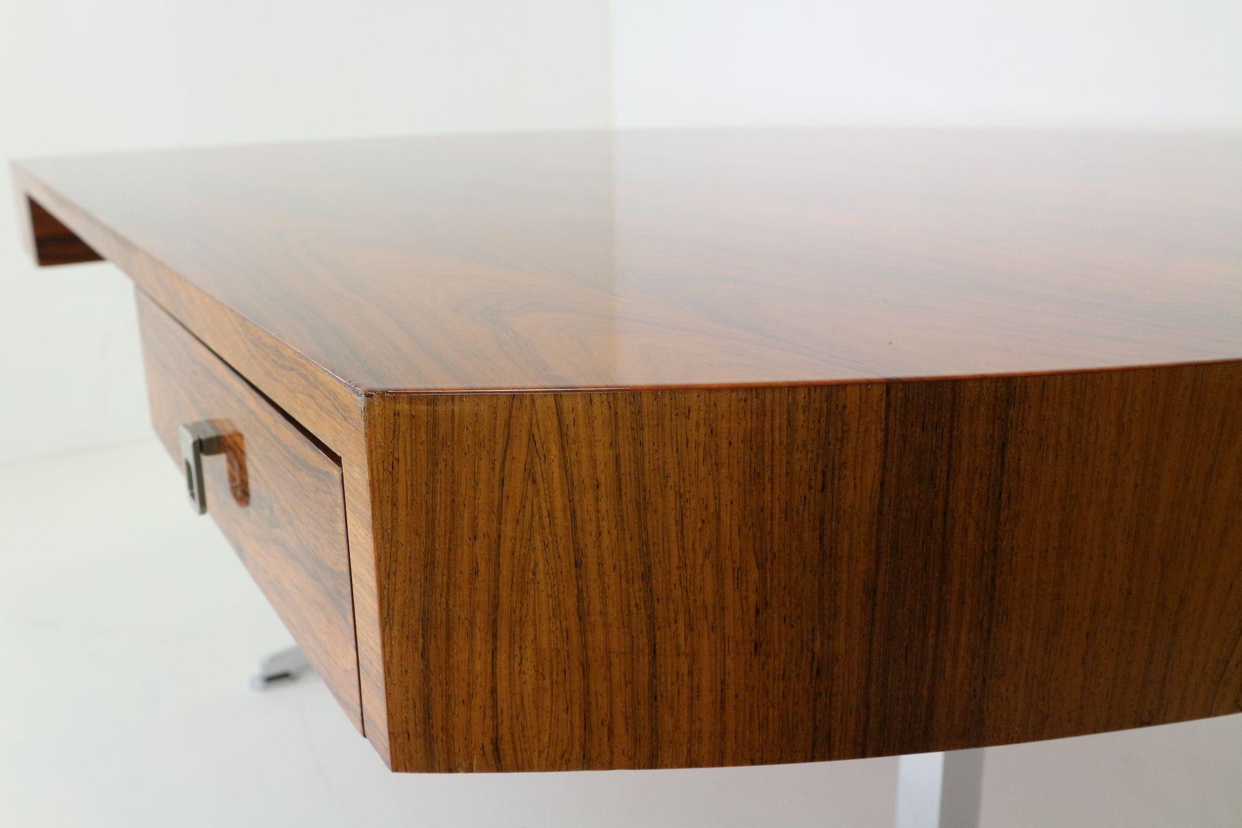 halbrunder vintage palisander chrom schreibtisch bei pamono kaufen. Black Bedroom Furniture Sets. Home Design Ideas