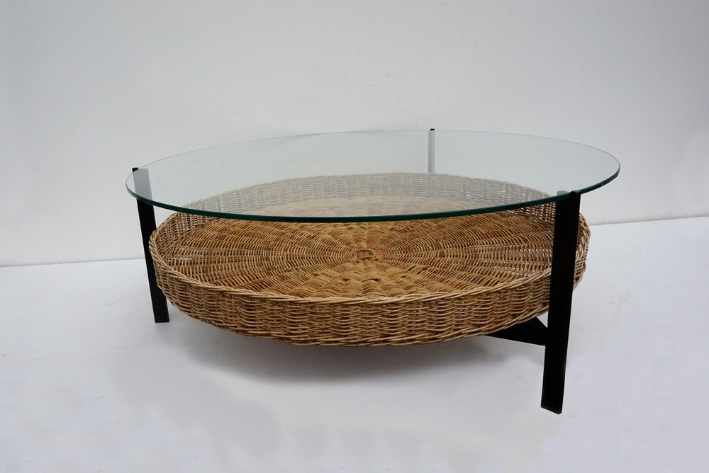 Mid Century Dutch Coffee Table With Rattan Magazine Basket For Sale At Pamono