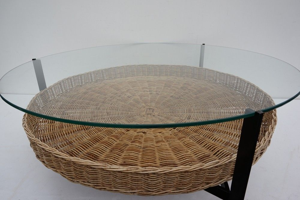 Mid Century Dutch Coffee Table With Rattan Basket