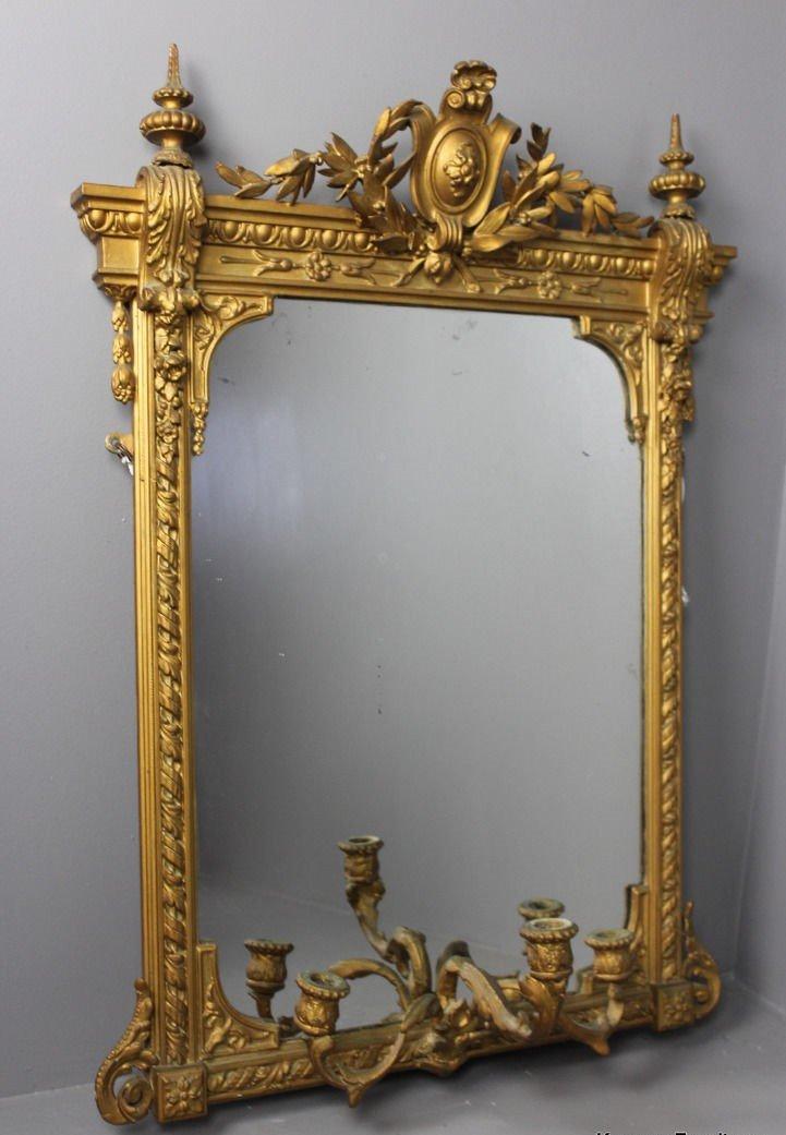 Miroir antique girandole avec dorure en vente sur pamono for Miroir antique