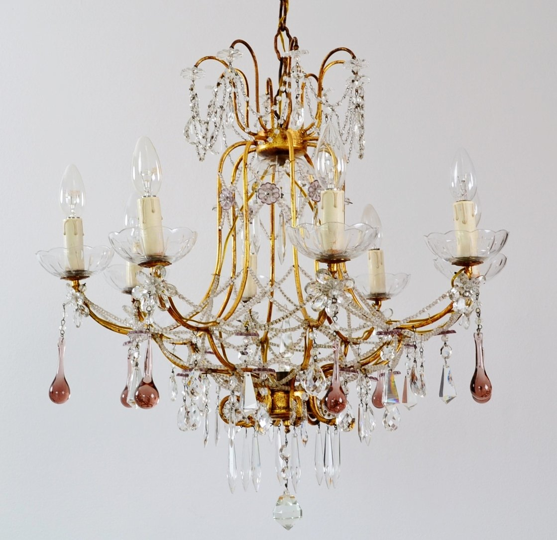 Pink Glass Chandelier Drops Designs