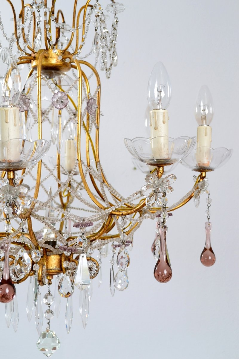 italian gilt and crystal chandelier with lilac murano drops and, Lighting ideas