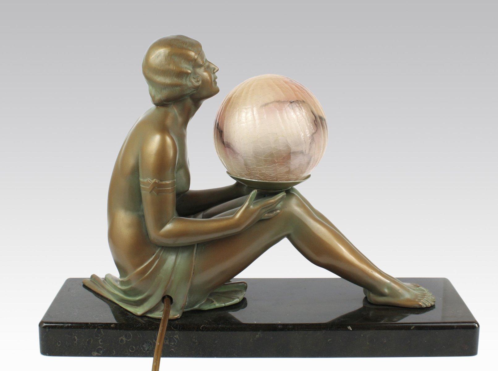 Deutsche art deco lampe mit figur 1930er bei pamono kaufen for Art deco lampe