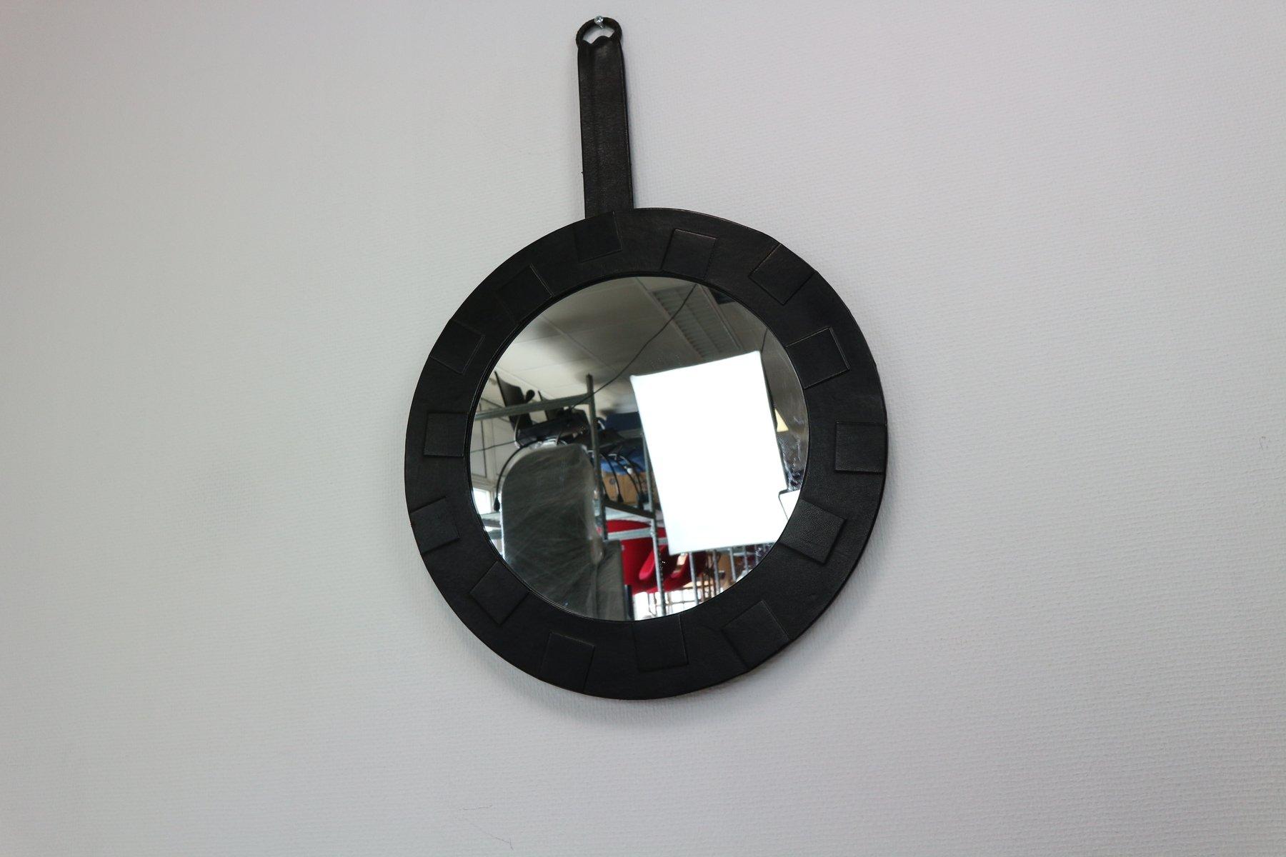 runder spiegel mit lederrahmen 1950er bei pamono kaufen