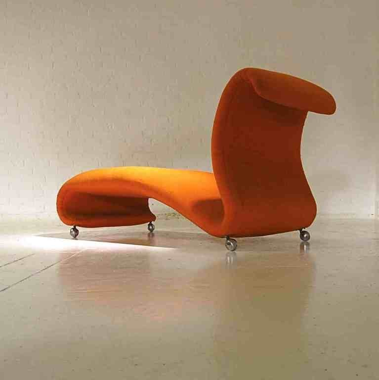mid century orange chaise longue by verner panton for storz palmer 1960s for sale at pamono. Black Bedroom Furniture Sets. Home Design Ideas