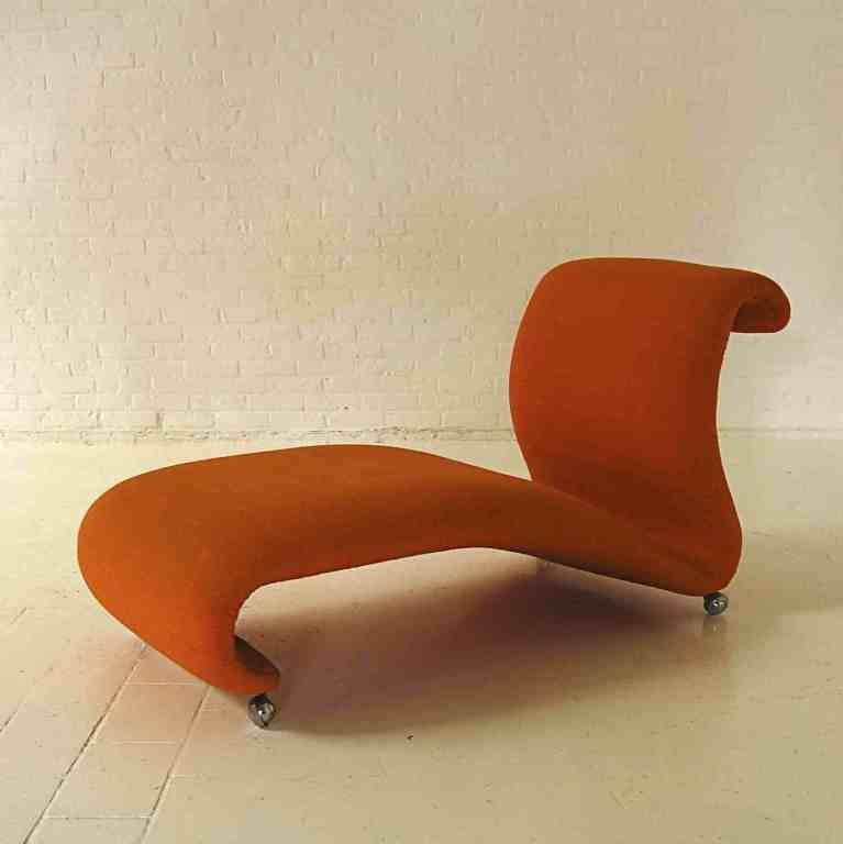 mid century orange chaise longue by verner panton for. Black Bedroom Furniture Sets. Home Design Ideas