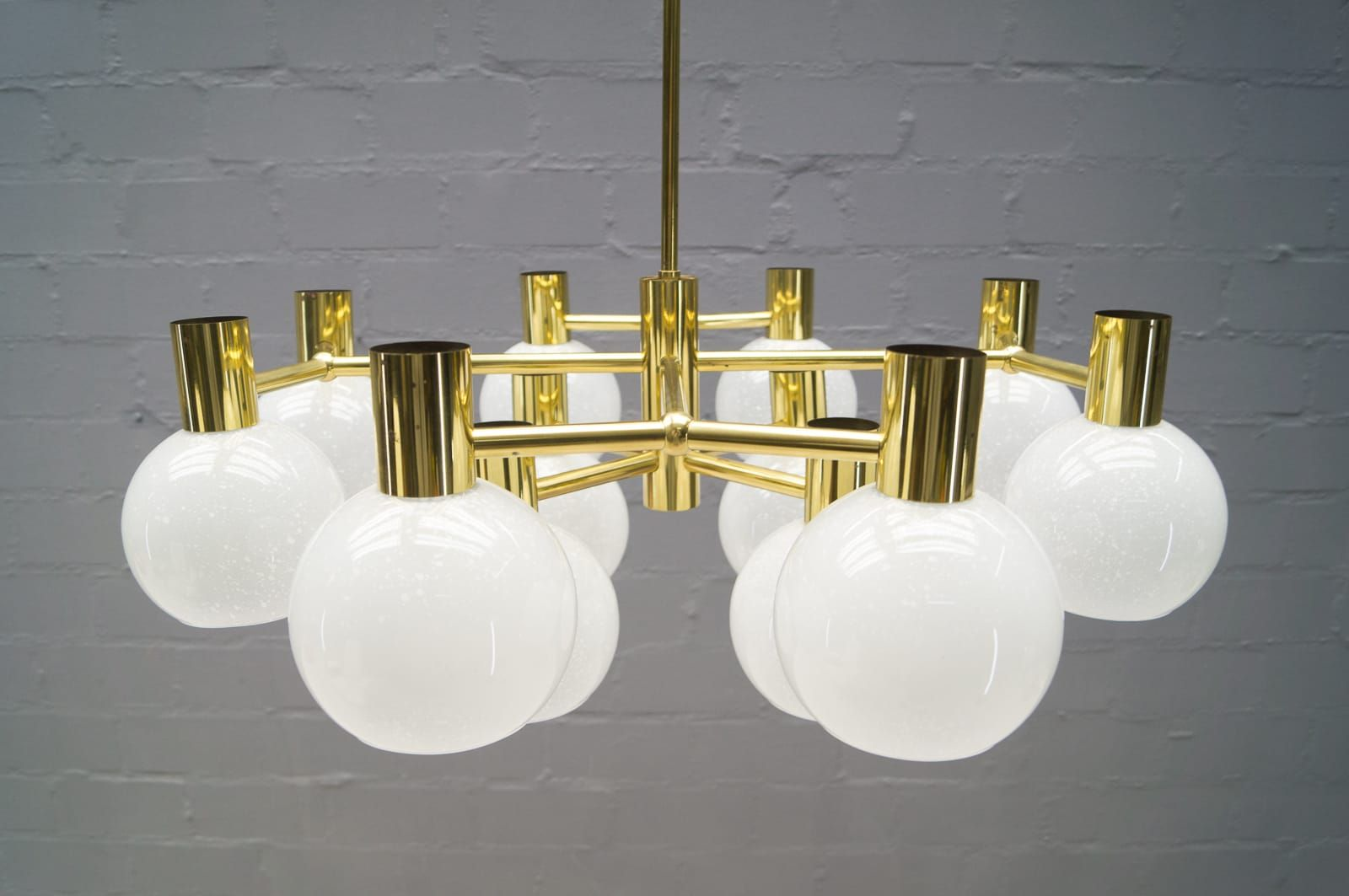 large opal glass and brass chandelier 1960s - Brass Chandelier