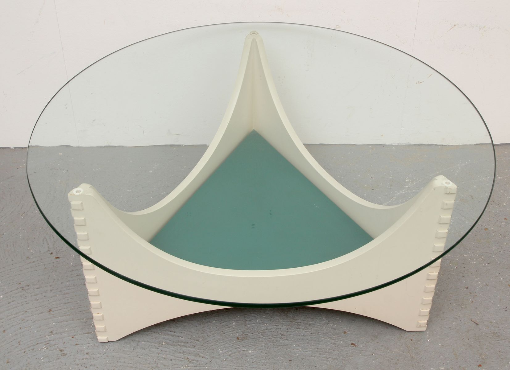 Vintage white coffee table with glass top for sale at pamono - White table with glass top ...