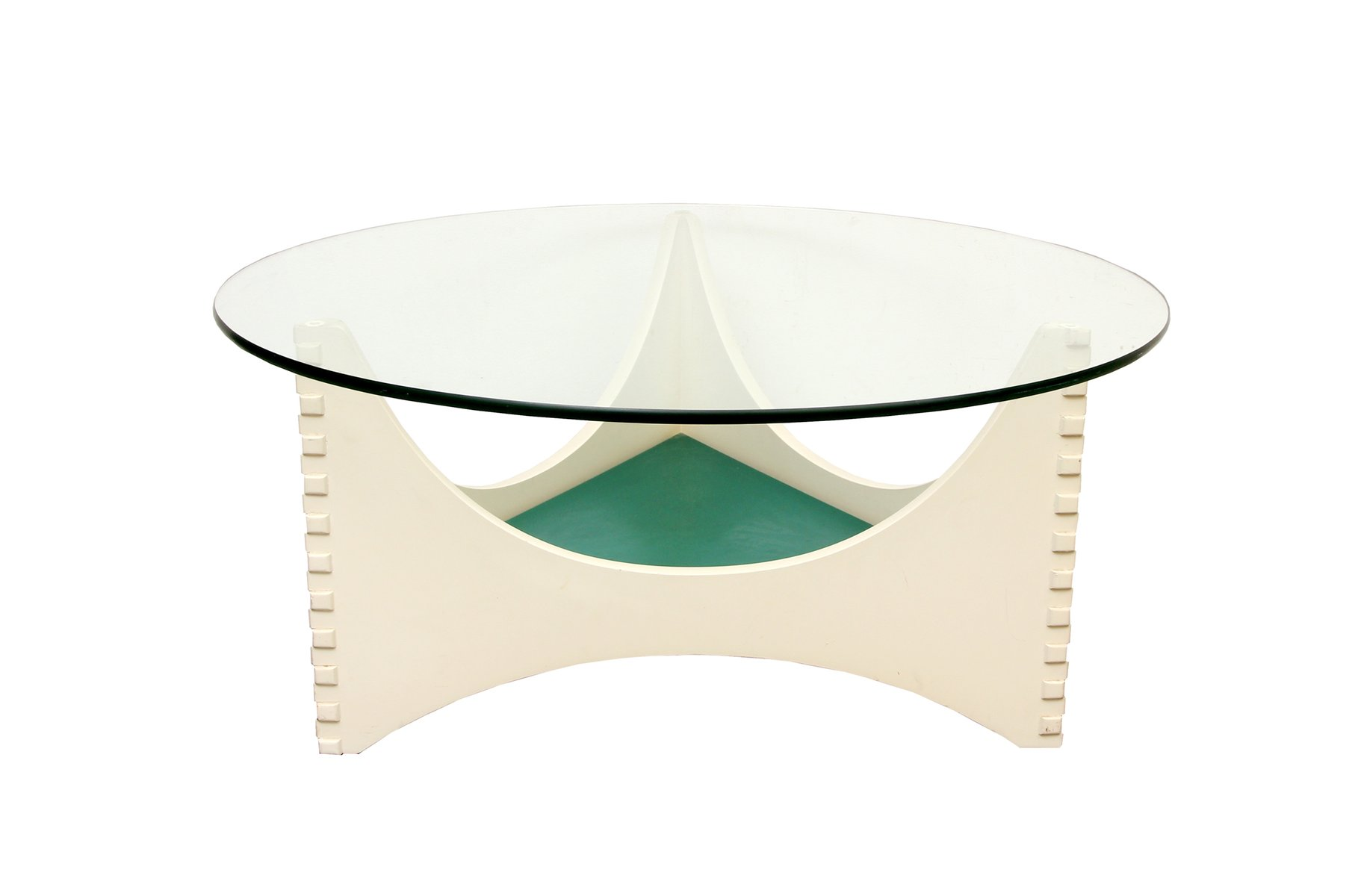 Vintage White Coffee Table With Glass Top For Sale At Pamono