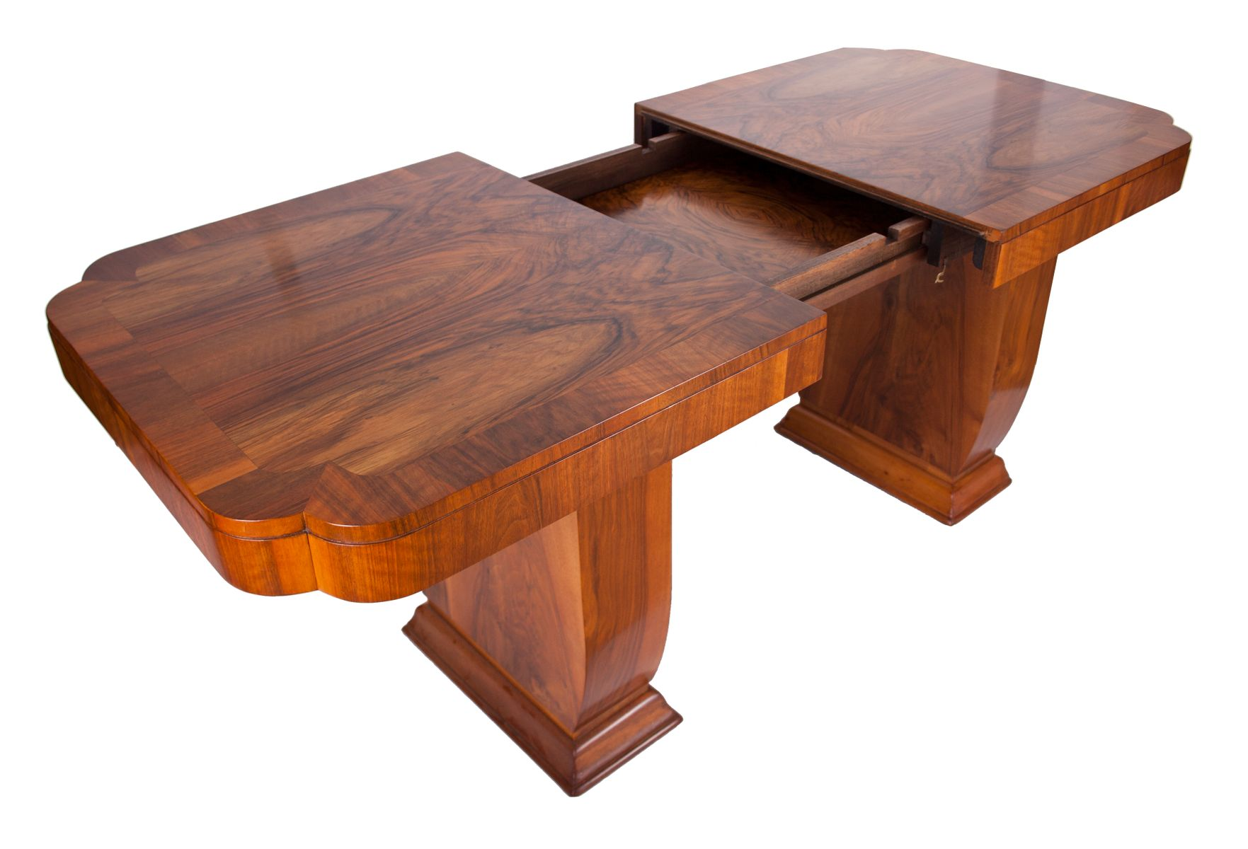 Art deco walnut dining table 1930s for sale at pamono for Table de nuit art deco