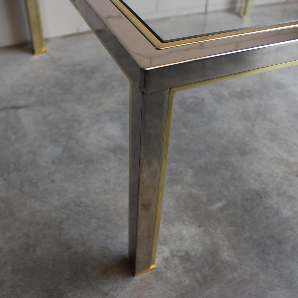 Square Brass Chrome Coffee Table With Cut Glass Top, 1980s