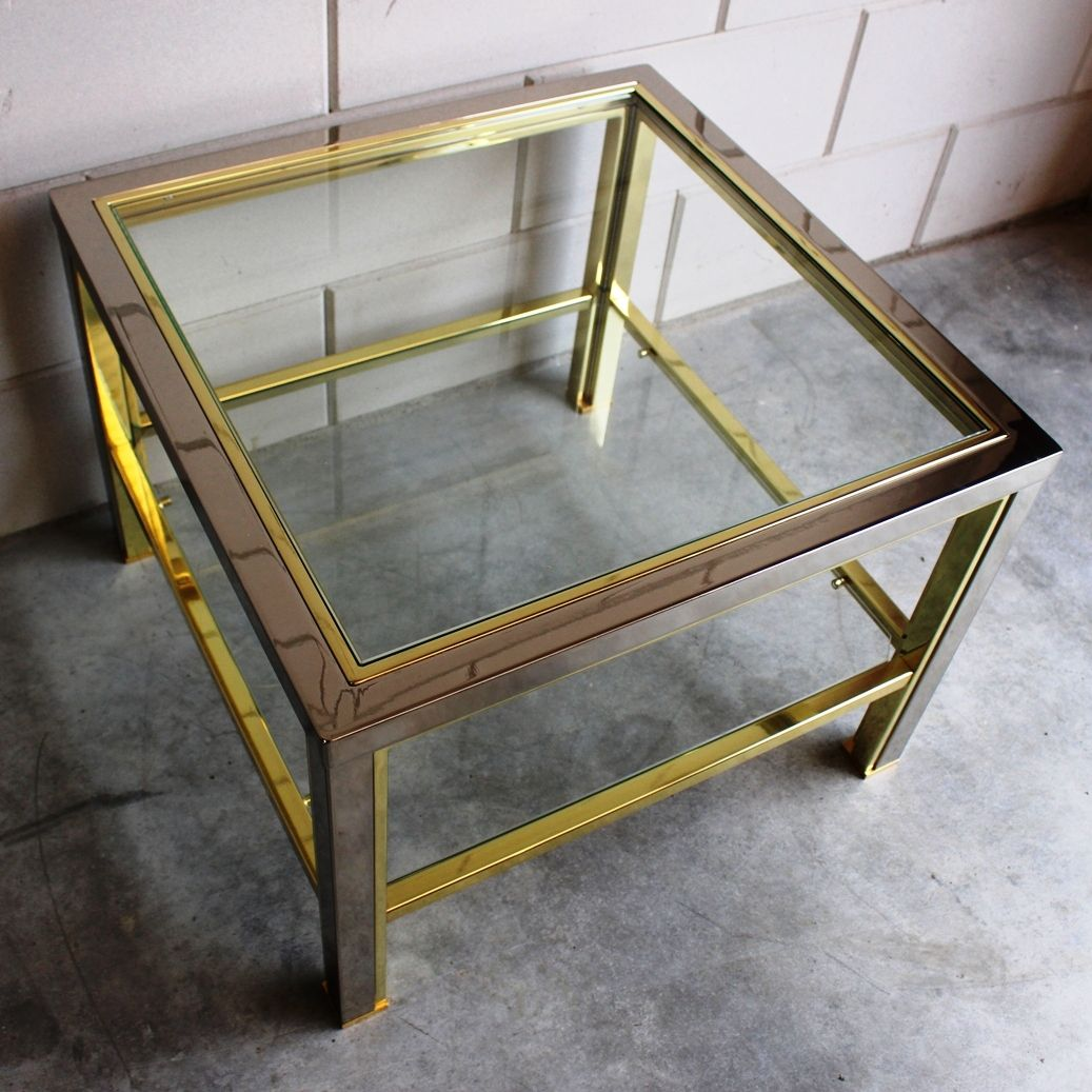 Vintage Square Brass Chrome Coffee Table With Cut Glass Top 1980s For Sale At Pamono