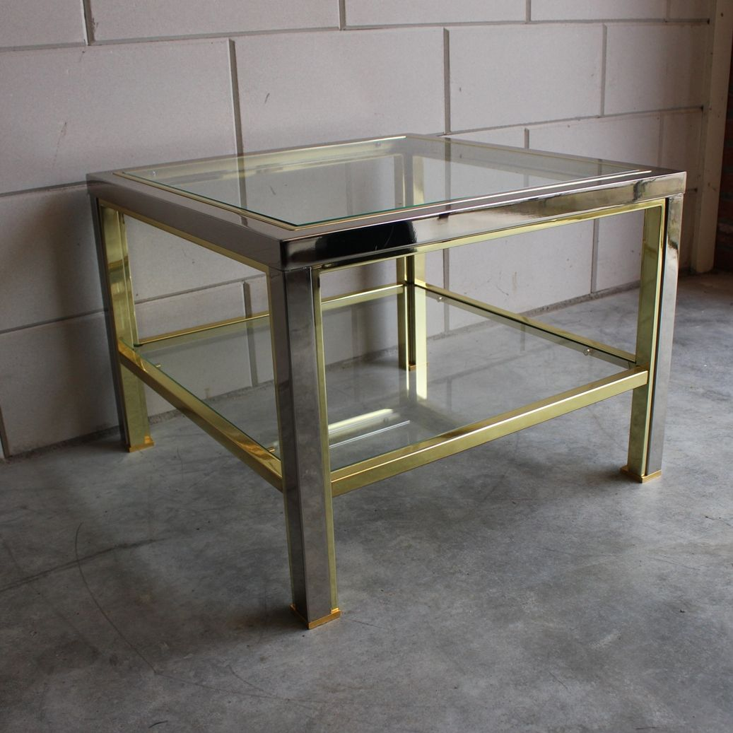 Vintage Square Brass Chrome Coffee Table With Cut Glass