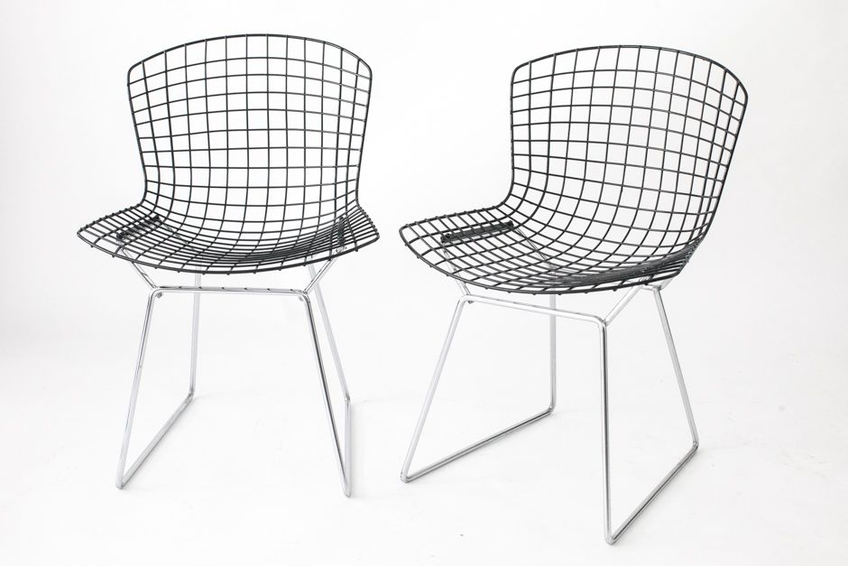 Bertoia Wire Chair mid-century wire chairs with black seats & chromed basesharry