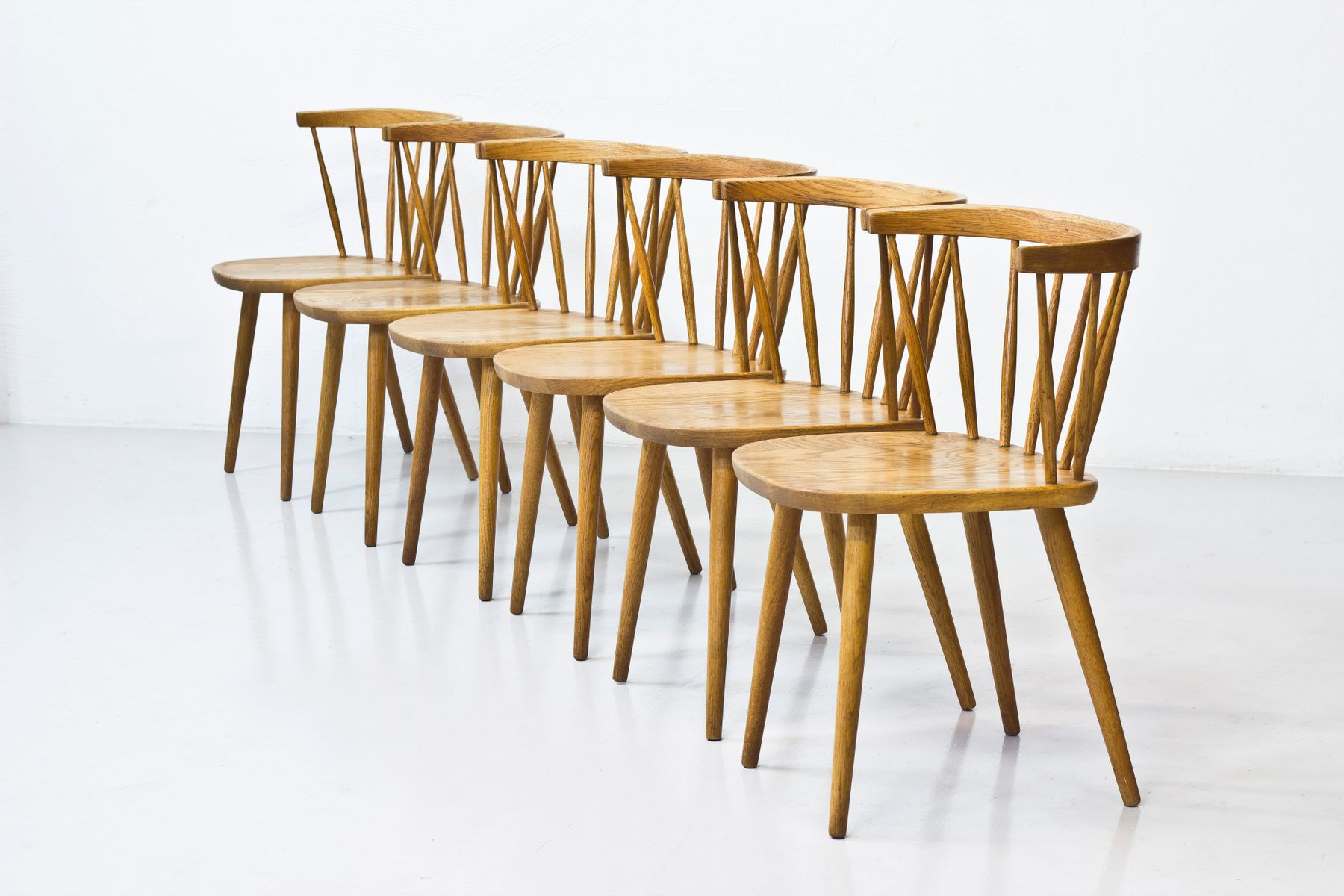 Bobino Chairs by Yngve Ekström for Stolab, 1950s, Set of 6 for sale at Pamono