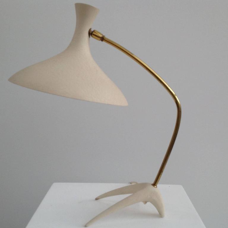 Vintage White Amp Gold Desk Lamp For Sale At Pamono