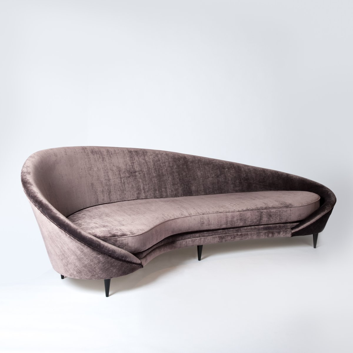 Vintage curved sofa by federico munari 1960s for sale at for Vintage sectional sofa craigslist