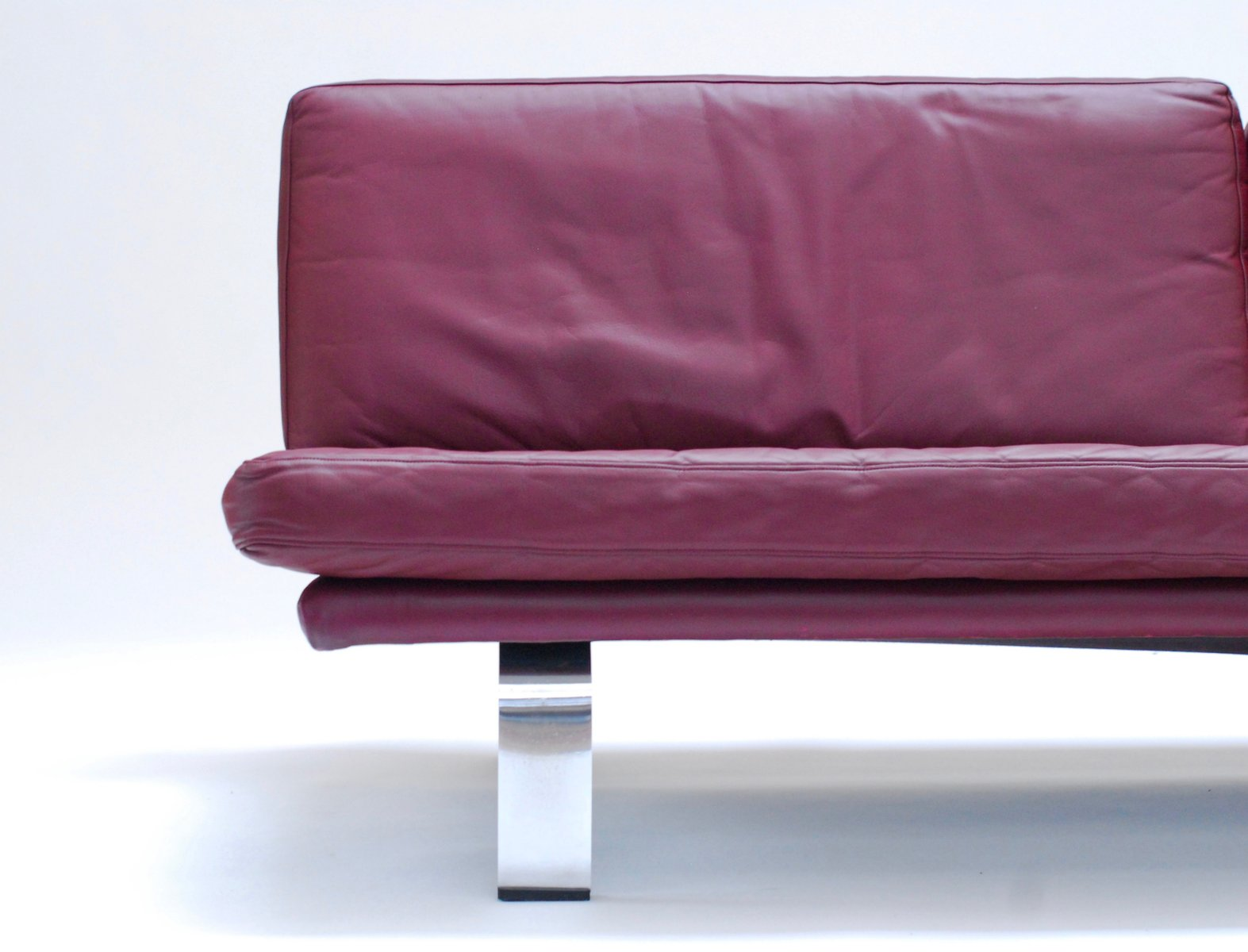 Italian Plum Leather Sofa 1960s for sale at Pamono