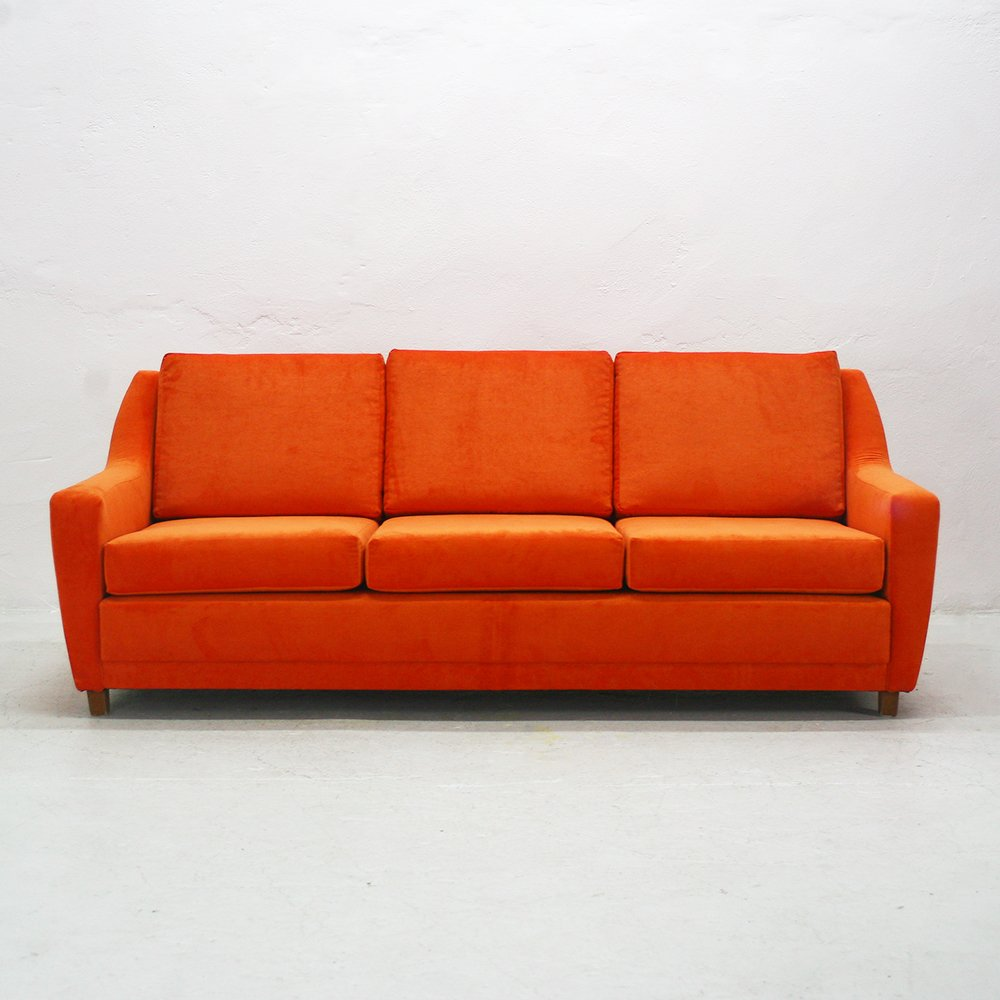 Orange three seater lounge sofa 1970s for sale at pamono for Sofa 7 seater