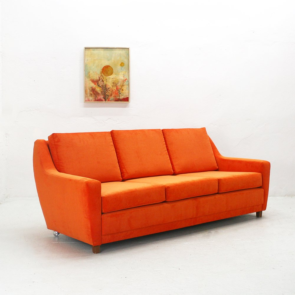 Orange three seater lounge sofa 1970s for sale at pamono for 70 er jahre couch