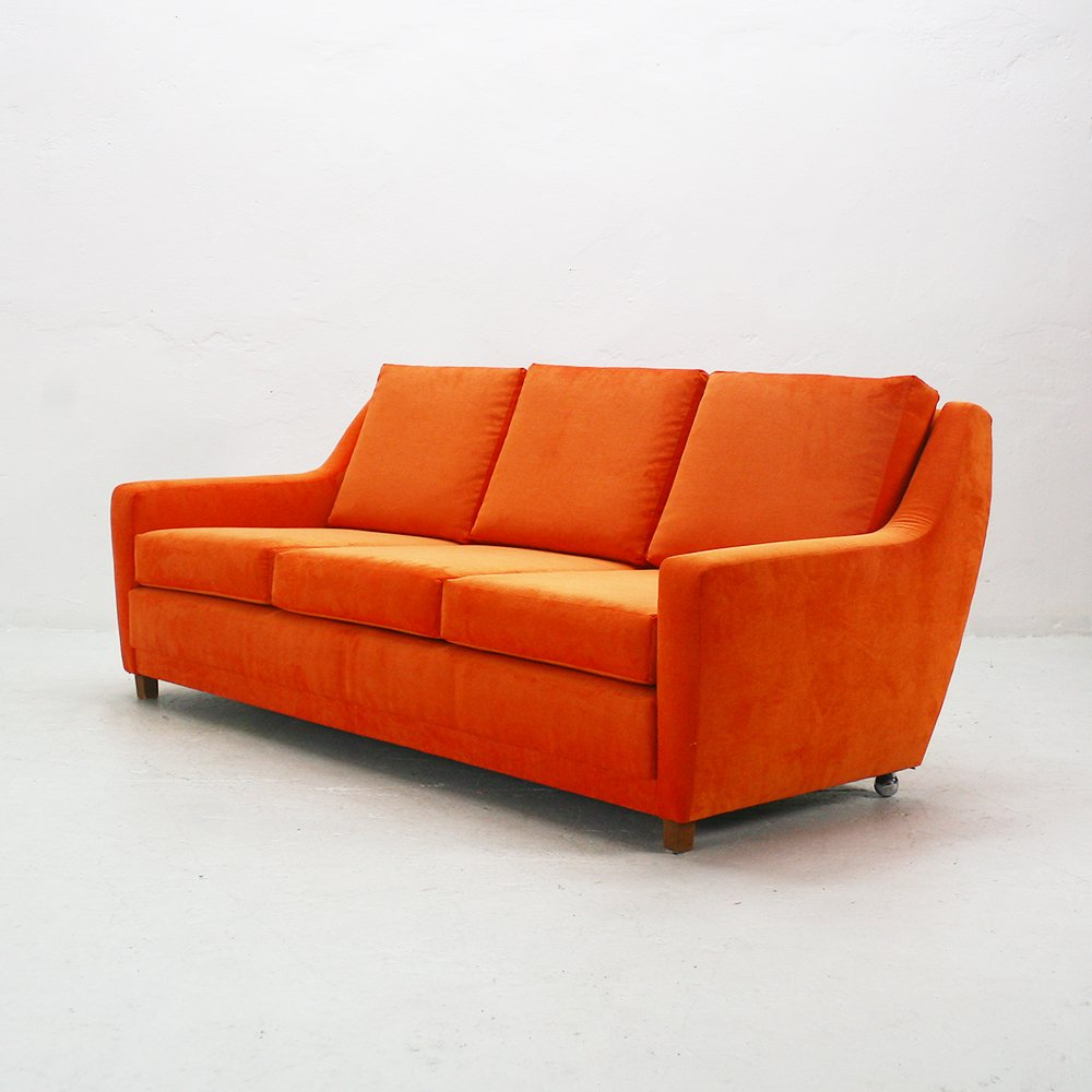 orange three seater lounge sofa 1970s for sale at pamono. Black Bedroom Furniture Sets. Home Design Ideas