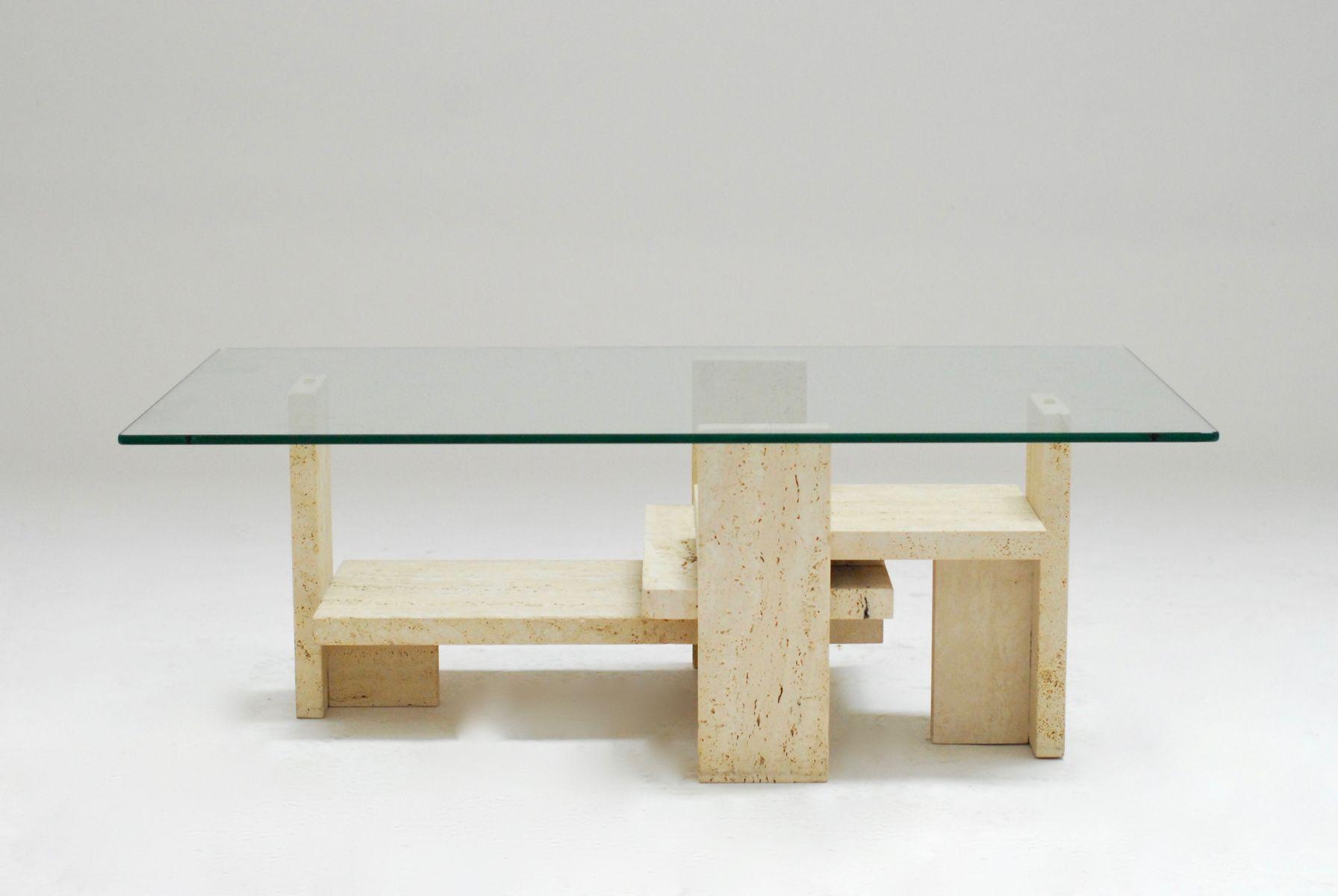Constructivist Travertine Coffee Table, 1978