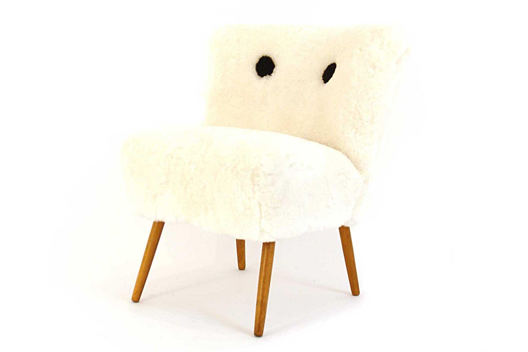 sterreichischer stuhl mit fell 1950er bei pamono kaufen. Black Bedroom Furniture Sets. Home Design Ideas