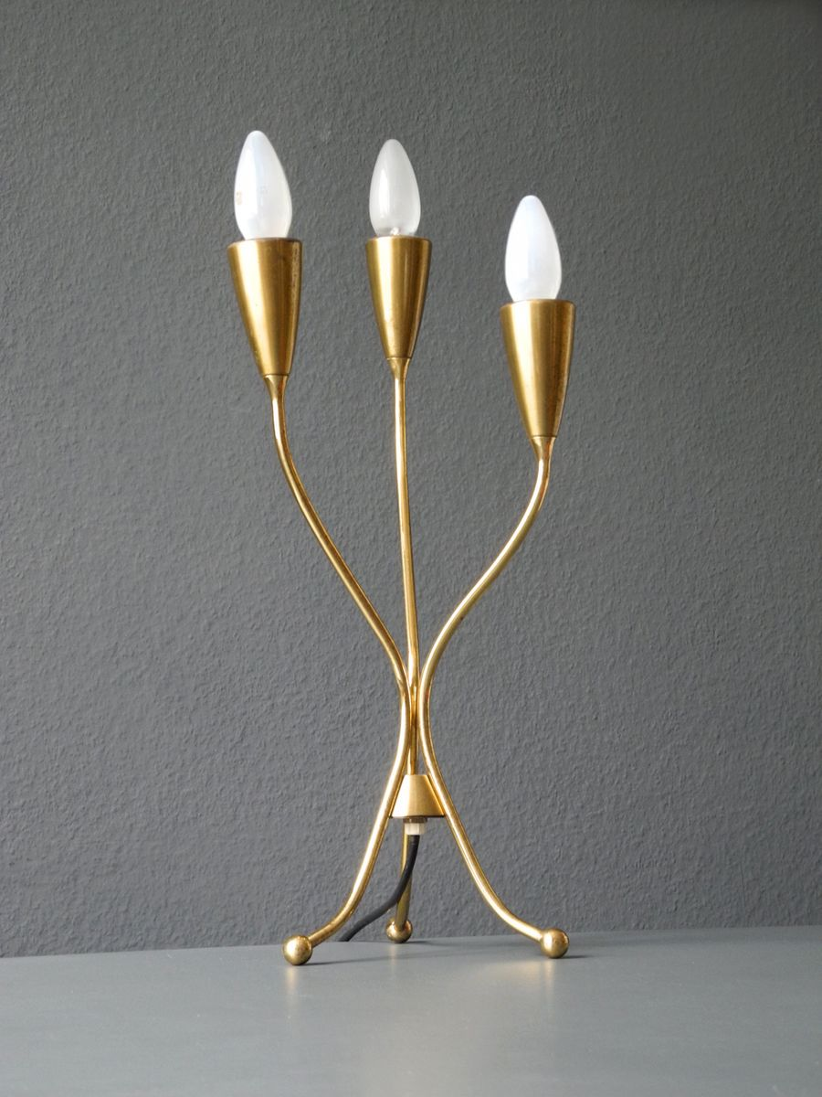 Mid century modern brass table lamps - Mid Century Modern Italian Brass Tripod Cone Table Lamp 1950s 10 880 00 Price Per Piece