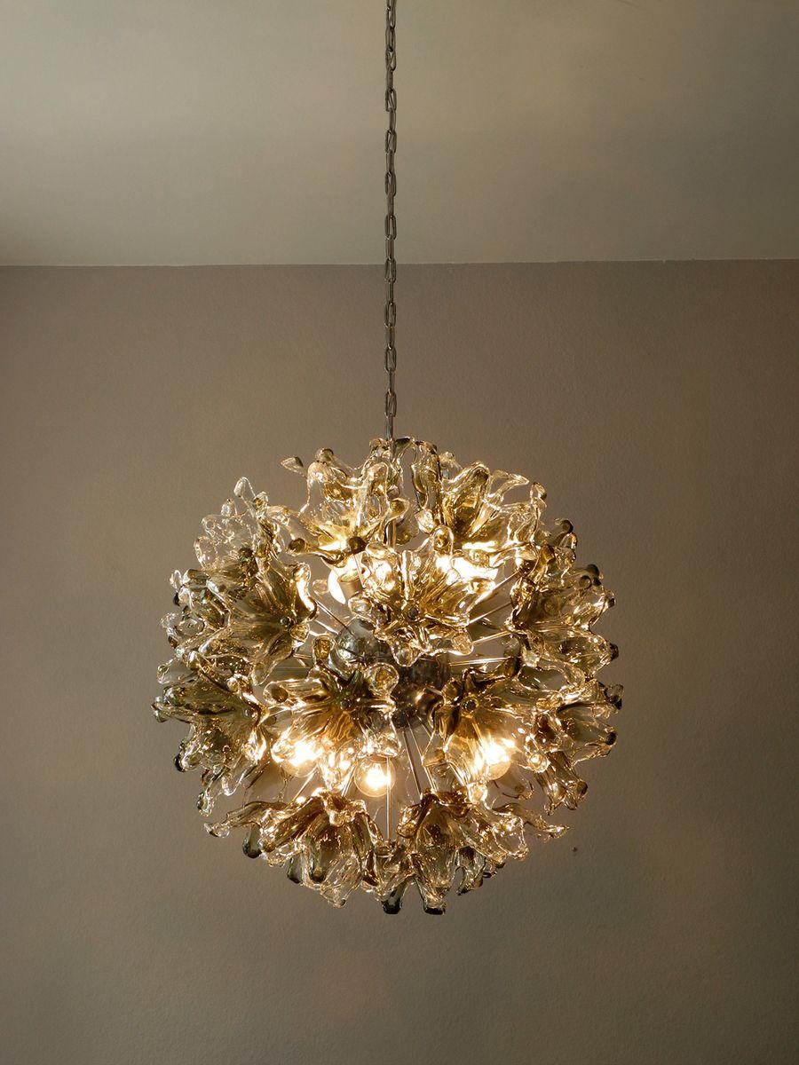 gro e sputnik h ngeleuchte mit murano glas blumen 1960er bei pamono kaufen. Black Bedroom Furniture Sets. Home Design Ideas