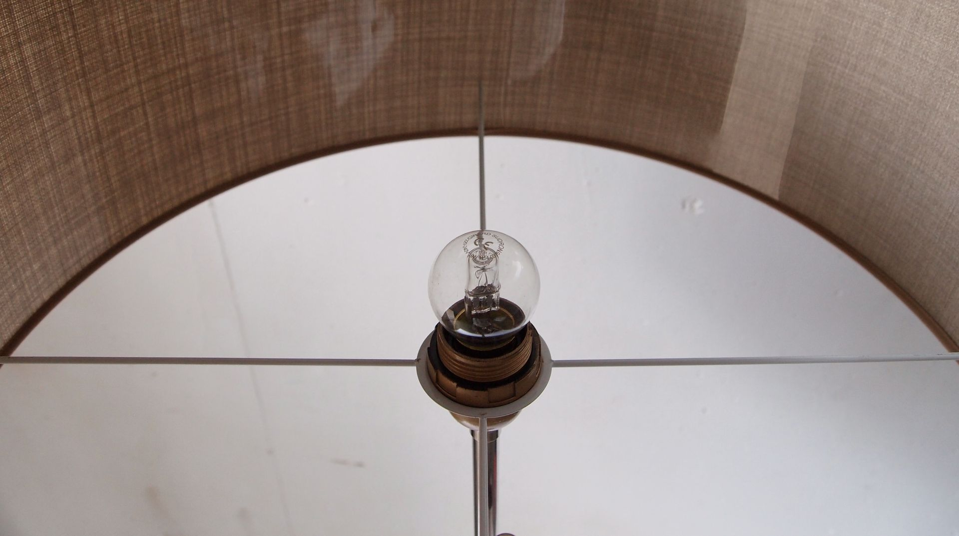 Chromed floor lamp with fabric shade 1970s for sale at pamono for 1970s floor lamps