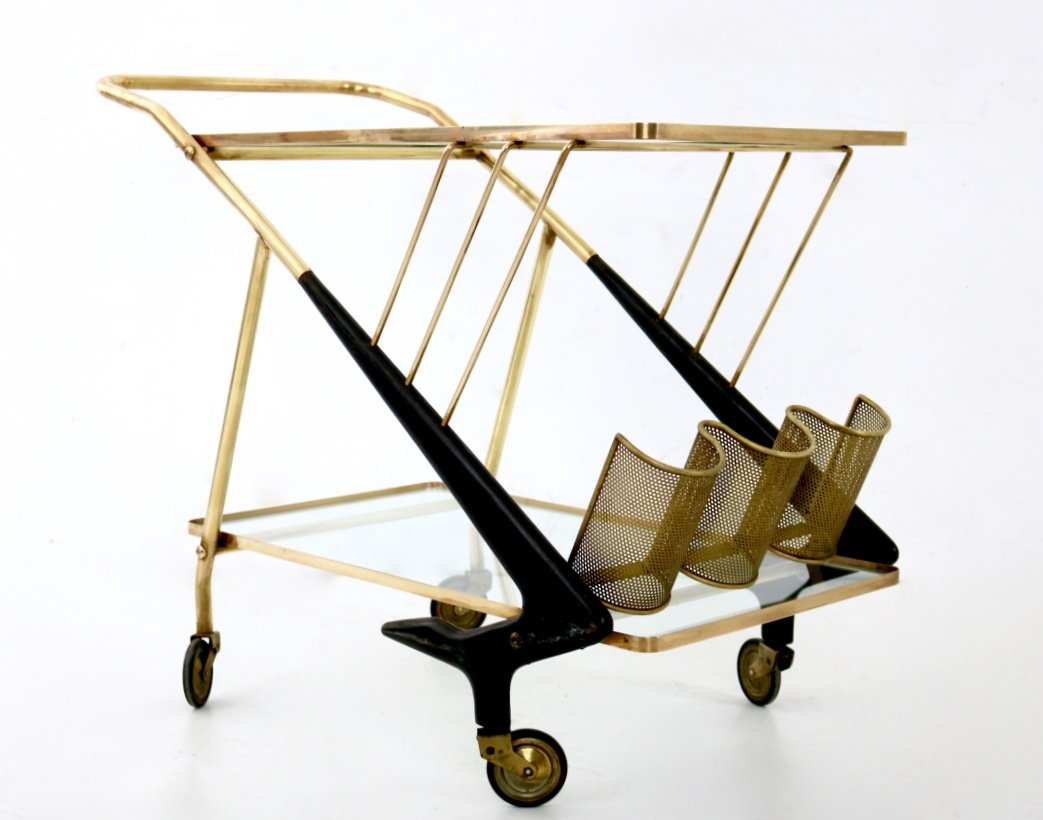 Vintage brass wood serving cart s for sale at pamono